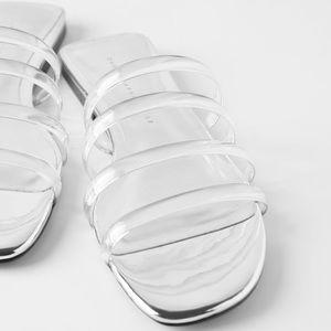 Zara vinyl tube strap sandal